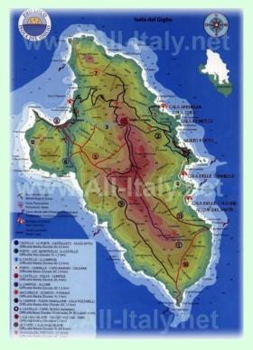 Подробная карта острова Джильо