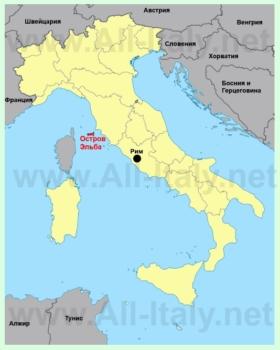 Остров Эльба на карте Италии