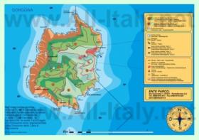 Подробная туристическая карта острова Горгона с достопримечательностями