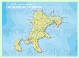 Подробная туристическая карта острова Прочида
