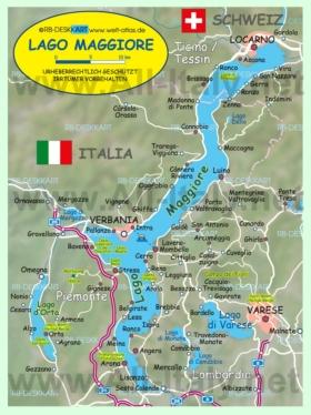 Подробная карта озера Маджоре