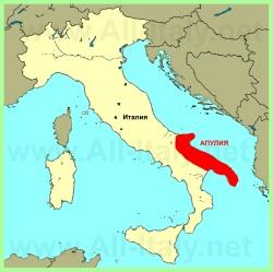 Апулия на карте Италии