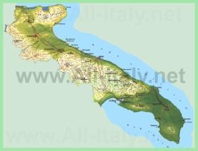 Подробная карта Апулии
