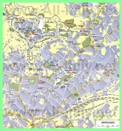 Подробная карта Бергамо с достопримечательностями