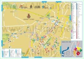 Подробная туристическая карта города Абано-Терме с отелями и достопримечательностями