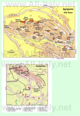 Карта Агридженто с достопримечательностями