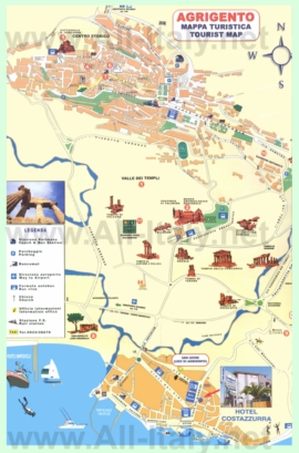 Подробная туристическая карта города Агридженто