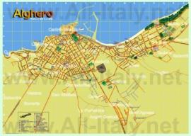 Туристическая карта Альгеро с отелями и достопримечательностями