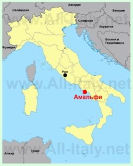 Амальфи на карте италии
