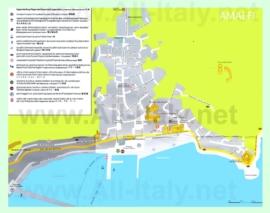 Туристическая карта Амальфи с отелями и достопримечательностями