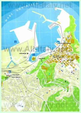 Туристическая карта Анконы с отелями и достопримечательностями