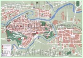 Туристическая карта Асколи-Пичено с отелями и достопримечательностями