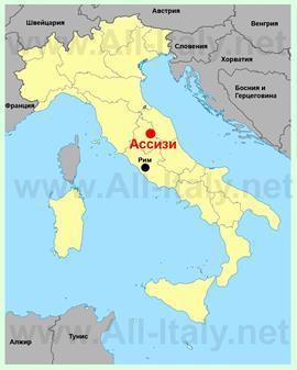 Ассизи на карте Италии