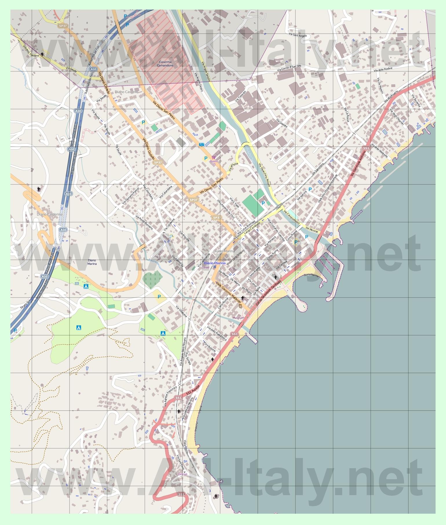 Подробная карта города диано марина