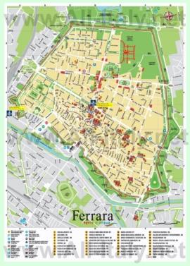 Подробная туристическая карта города Феррара с достопримечательностями