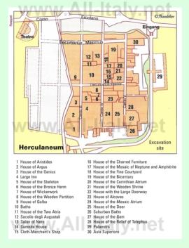 Туристическая карта Геркуланума с достопримечательностями