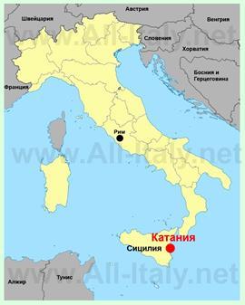 Катания на карте Италии