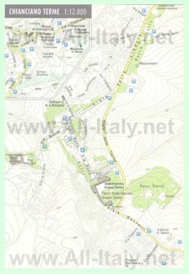 Подробная туристическая карта города Кьянчано-Терме