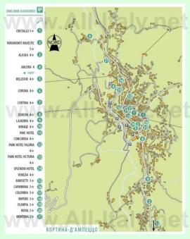Карта отелей Кортина-д'Ампеццо
