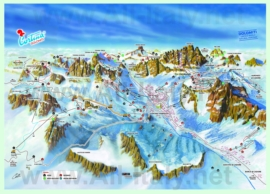 Туристическая карта горнолыжного курорта Кортина-д'Ампеццо с ресторанами