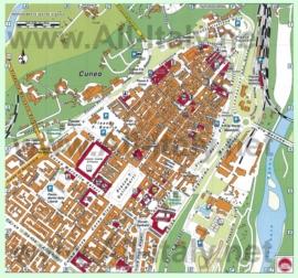 Туристическая карта Кунео с достопримечательностями
