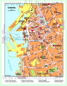 Карта Ливорно с достопримечательностями