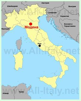 Модена на карте Италии