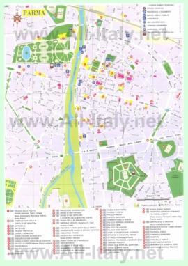 Туристическая карта Пармы с достопримечательностями