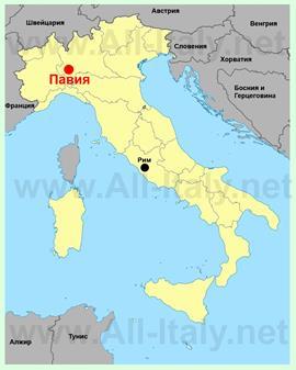 Павия на карте Италии