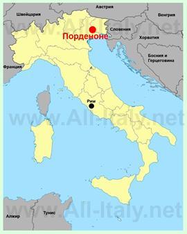 Порденоне на карте Италии