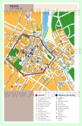 Туристическая карта Прато с достопримечательностями