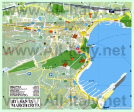 Подробная туристическая карта города Санта-Маргарита-Лигуре