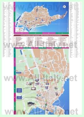 Подробная туристическая карта города Сиракузы с достопримечательностями