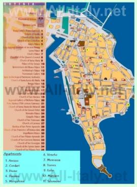 Туристическая карта Сиракузы с отелями