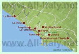 Туристическая карта Сперлонги с отелями