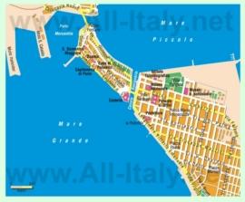 Туристическая карта Таранто с достопримечательностями
