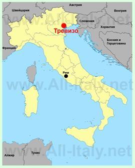 Тревизо на карте Италии