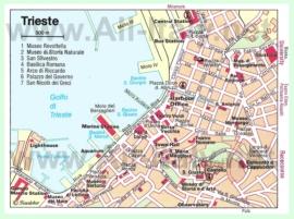 Карта центра Триеста с достопримечательностями
