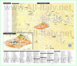Подробная туристическая карта города Урбино с отелями и достопримечательностями