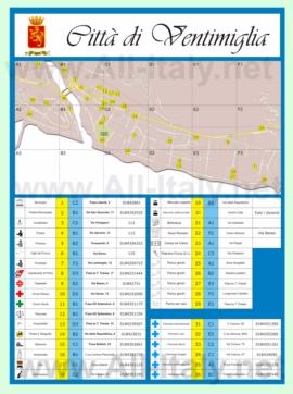 Туристическая карта Вентимильи с достопримечательностями