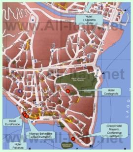 Туристическая карта Вербании с достопримечательностями