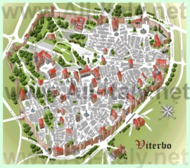 Туристическая карта Витербо с достопримечательностями