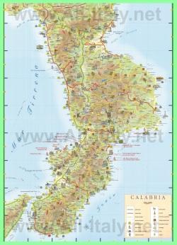 Подробная туристическая карта Калабрии