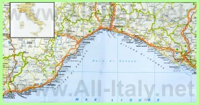 Карта побережья региона Лигурия