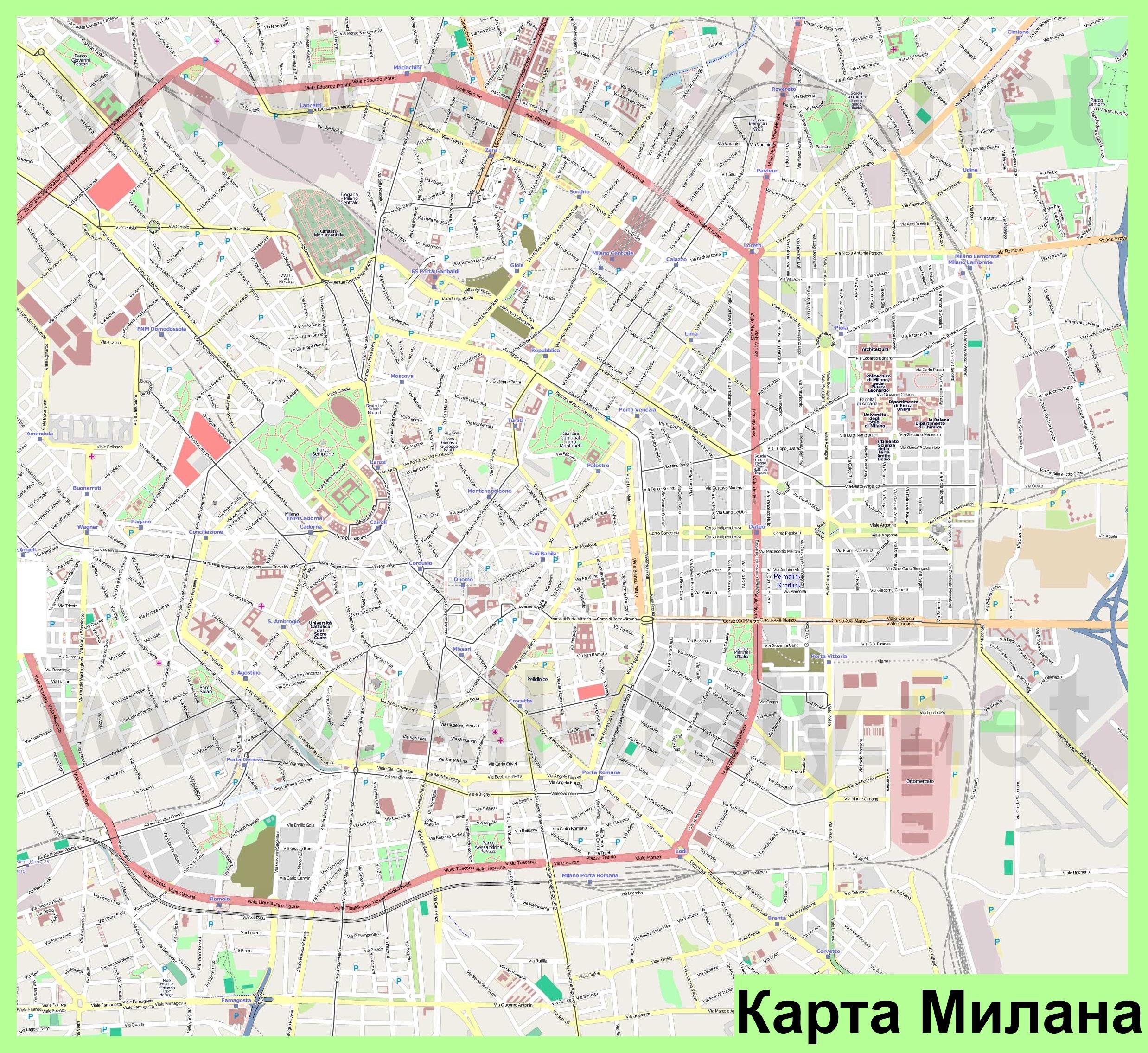 Karty Milana Podrobnaya Karta Goroda Milan S