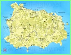 Подробная туристическая карта острова Искья с отелями