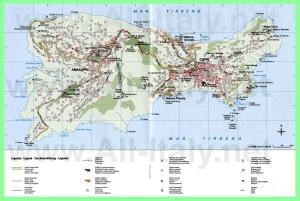 Подробная туристическая карта острова Капри
