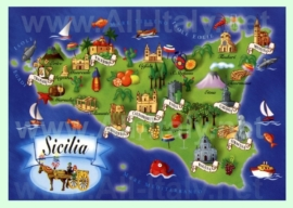 Туристическая карта Сицилии с достопримечательностями