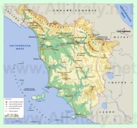 Подробная карта Тосканы на русском языке