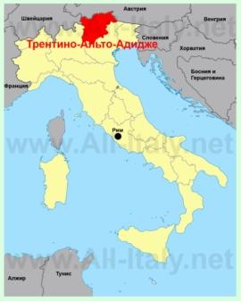 Трентино—Альто-Адидже на карте Италии